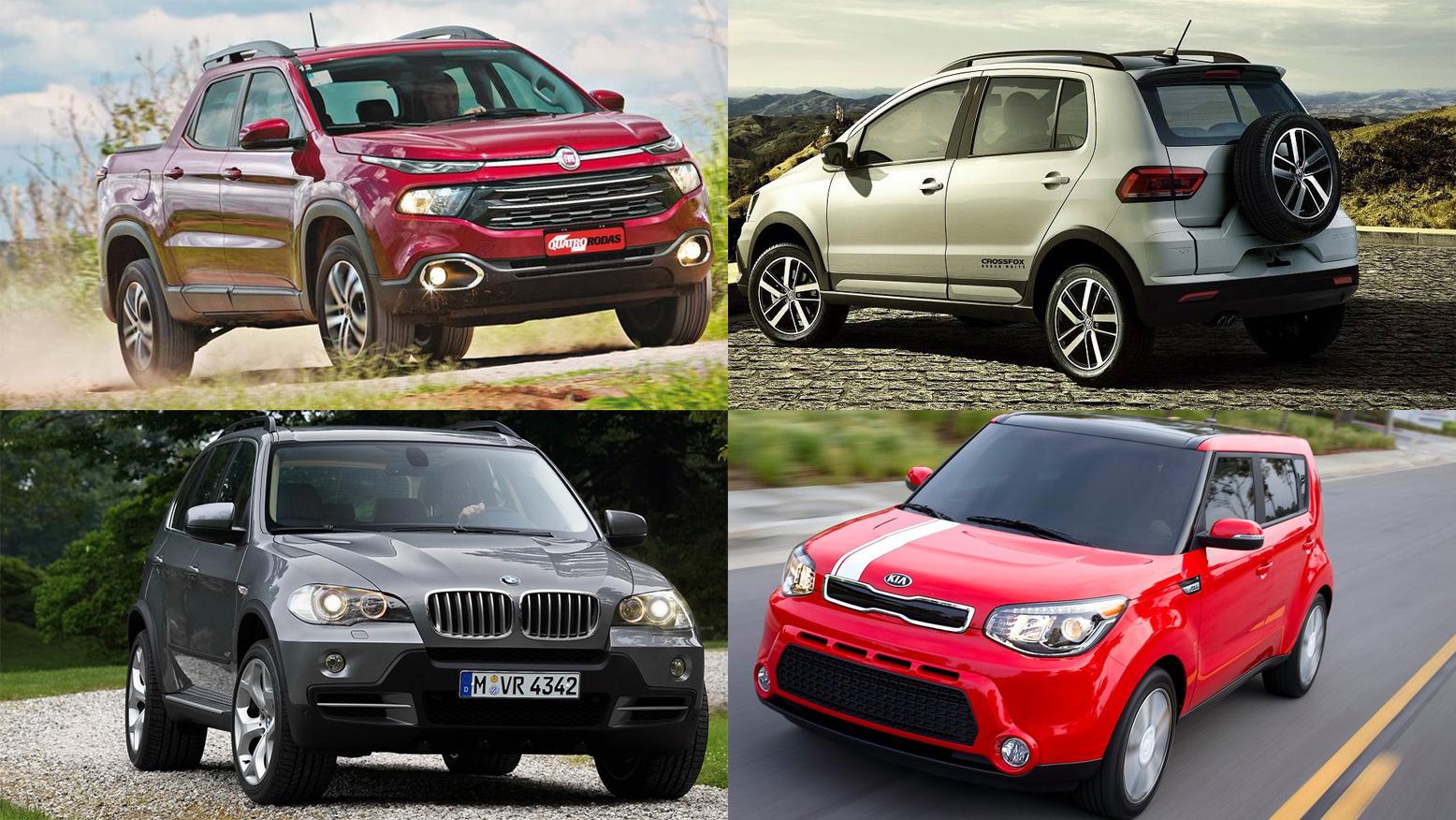 Fiat Toro, BMX X5, VW CrossFox e Kia Soul