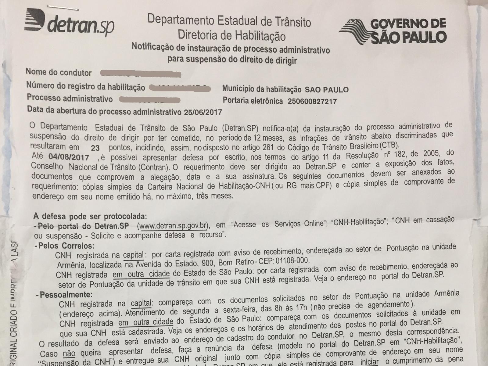 Exemplo de notificação de instauração do processo de suspensão do direito de dirigir