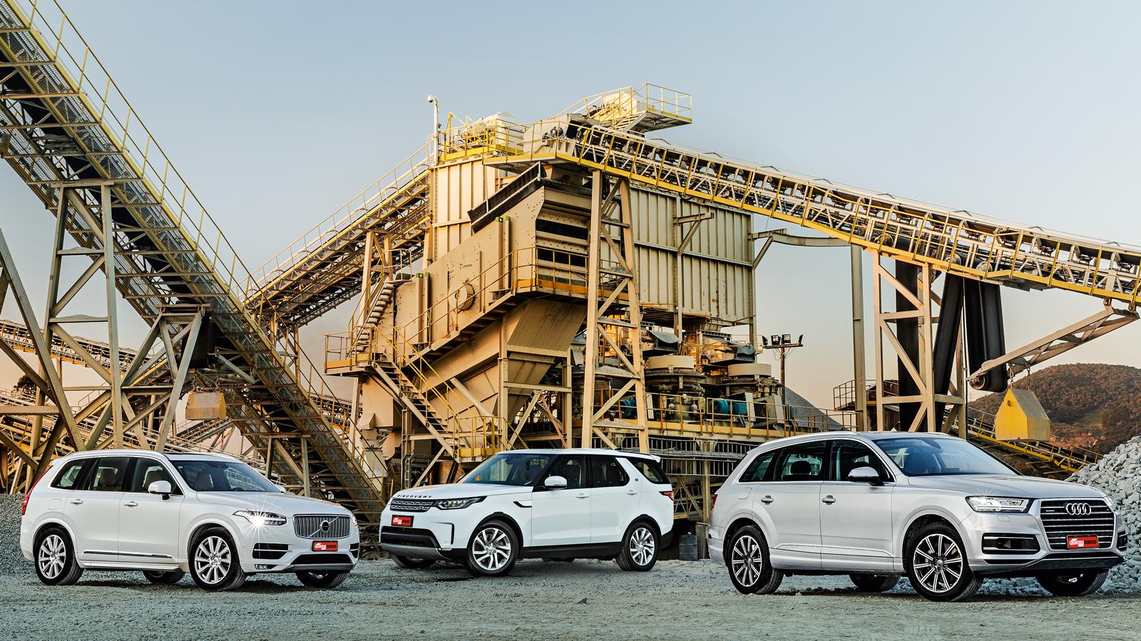 XC90 (esquerda), Discovery e Q7: o Land Rover não esconde ser o maior dos três