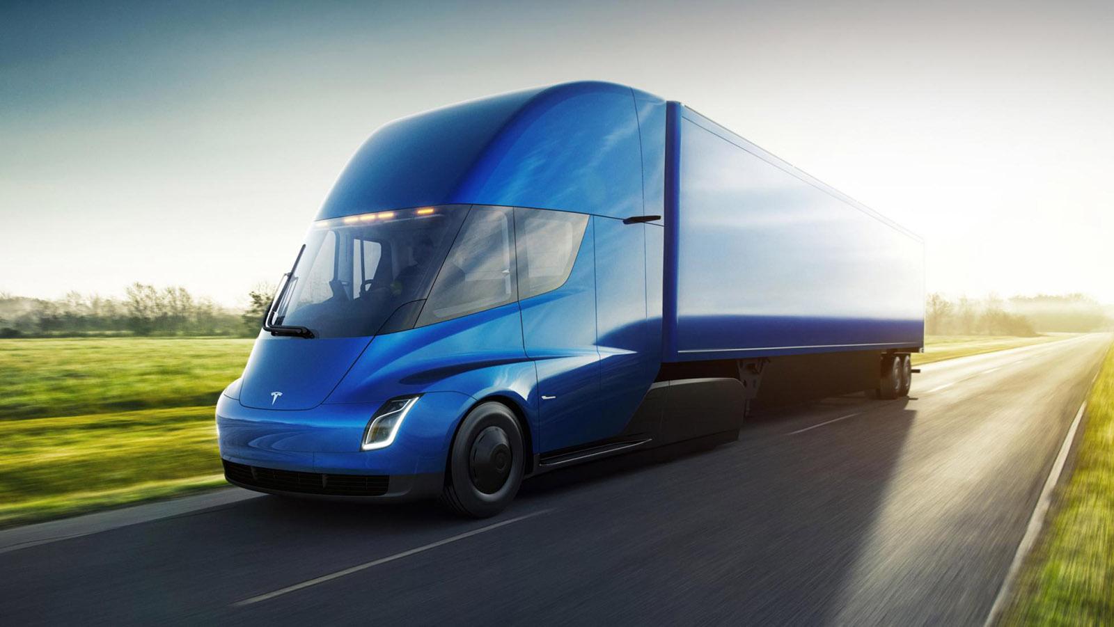 Tesla Semi azul visto 3/4 de frente
