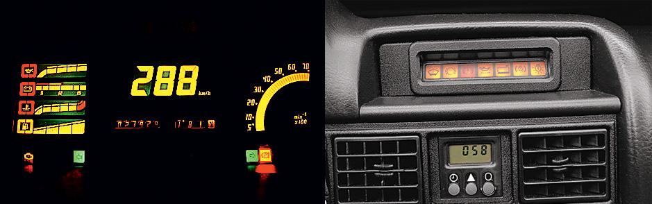 Mostradores digitais do Kadett GSI ConversÌvel, modelo 1995 da Chevrolet, testado pela revista Quatro Rodas.