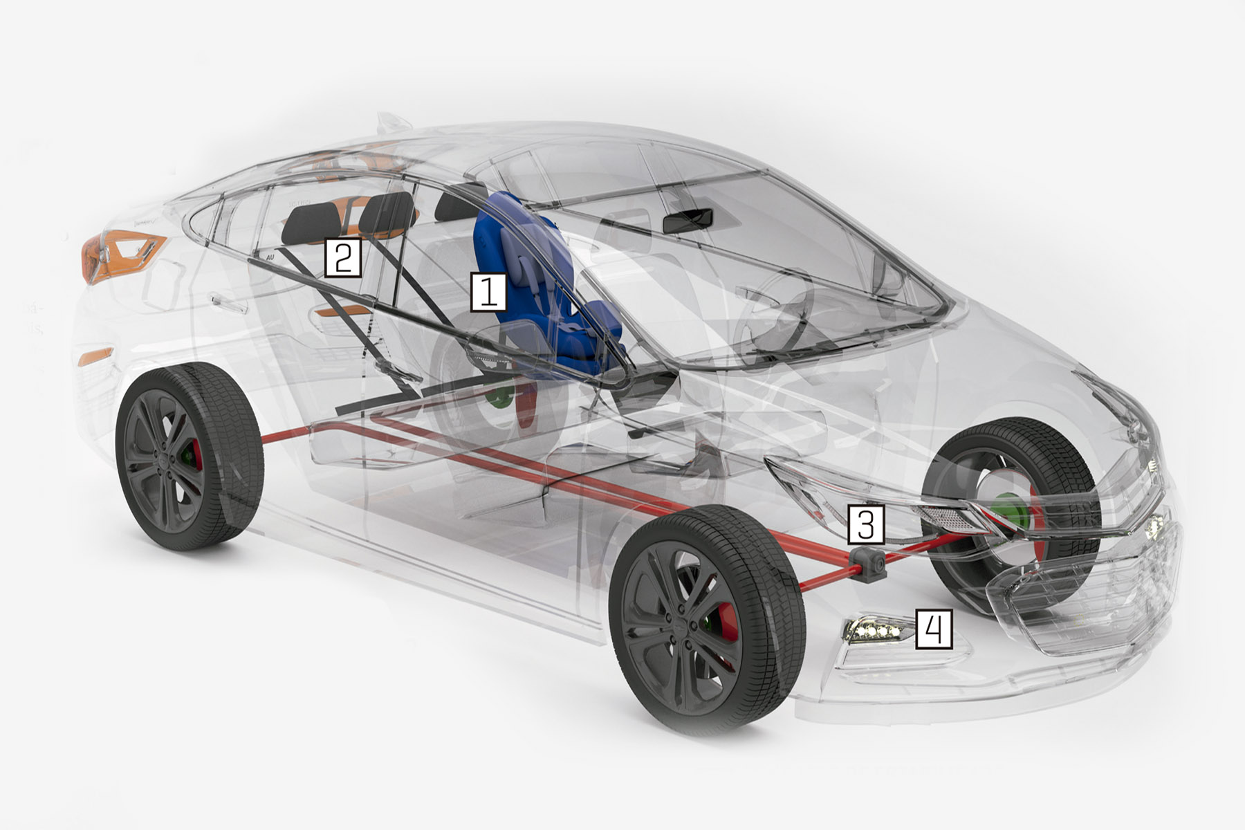 Ilustração numera ponto a ponto onde cada item atua no veículo. Abaixo estão os detalhes de cada equipamento