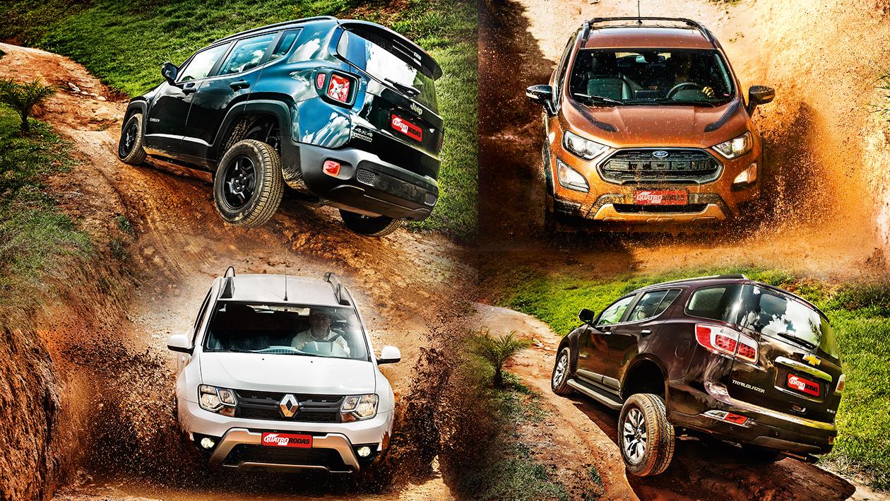 SUVs 4x4: Jeep Renegade, Ford EcoSport, Renault Duster e Chevrolet Trailblazer