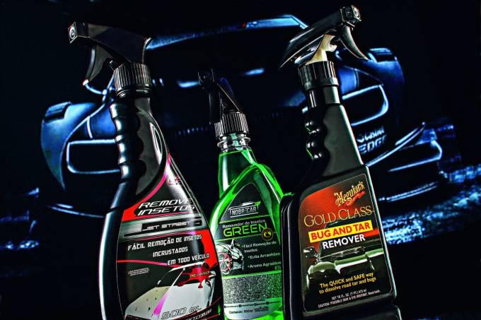 Removedores líquidos Jet Street, Nobre Car e Meguiar's.