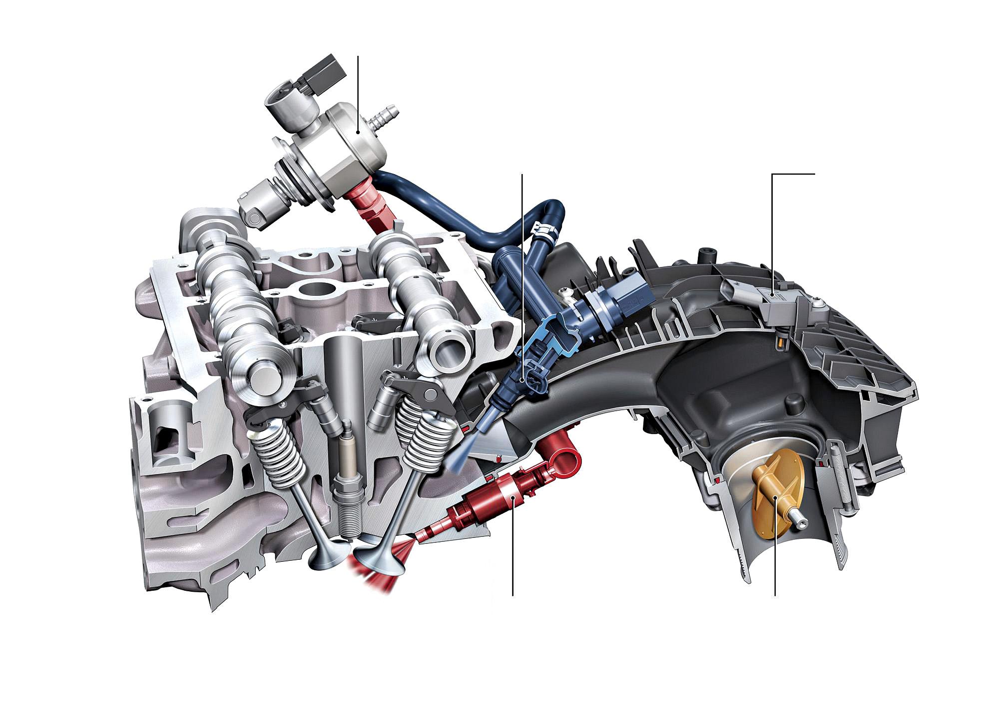 Os bicos de injeção indireta (azul) pulverizam o combustível no coletor de admissão; os de injeção direta (vermelha) fazem isso diretamente dentro do cilindro