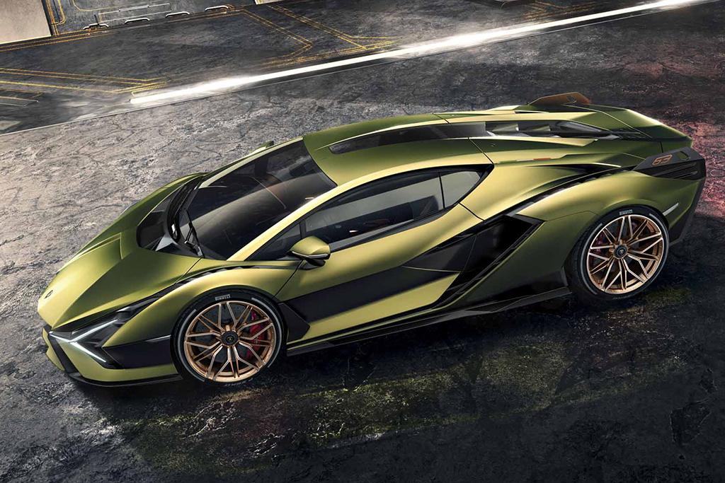 Lamborghini Sián verde visto de lado