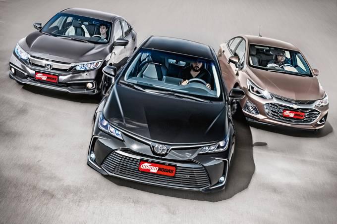comparativo Toyota Corolla Honda Civic Chevrolet Cruze