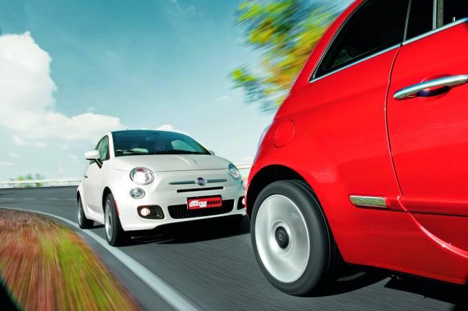 500 Sport Air e 500 Cult modelo 2012 da Fiat, durante teste comparativo da revis