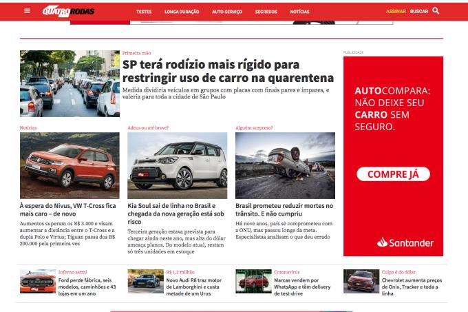 Novo site Quatro Rodas