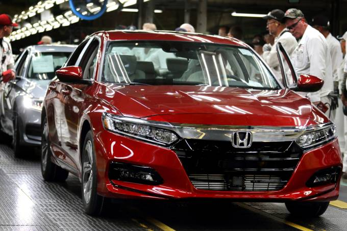 One of the first 2018 Honda Accord models comes off the assembly