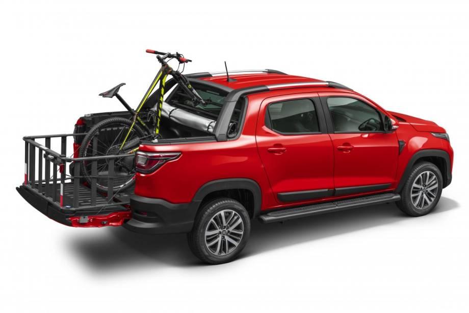 Extensor de caçamba, suporte de bicicleta e estribo lateral