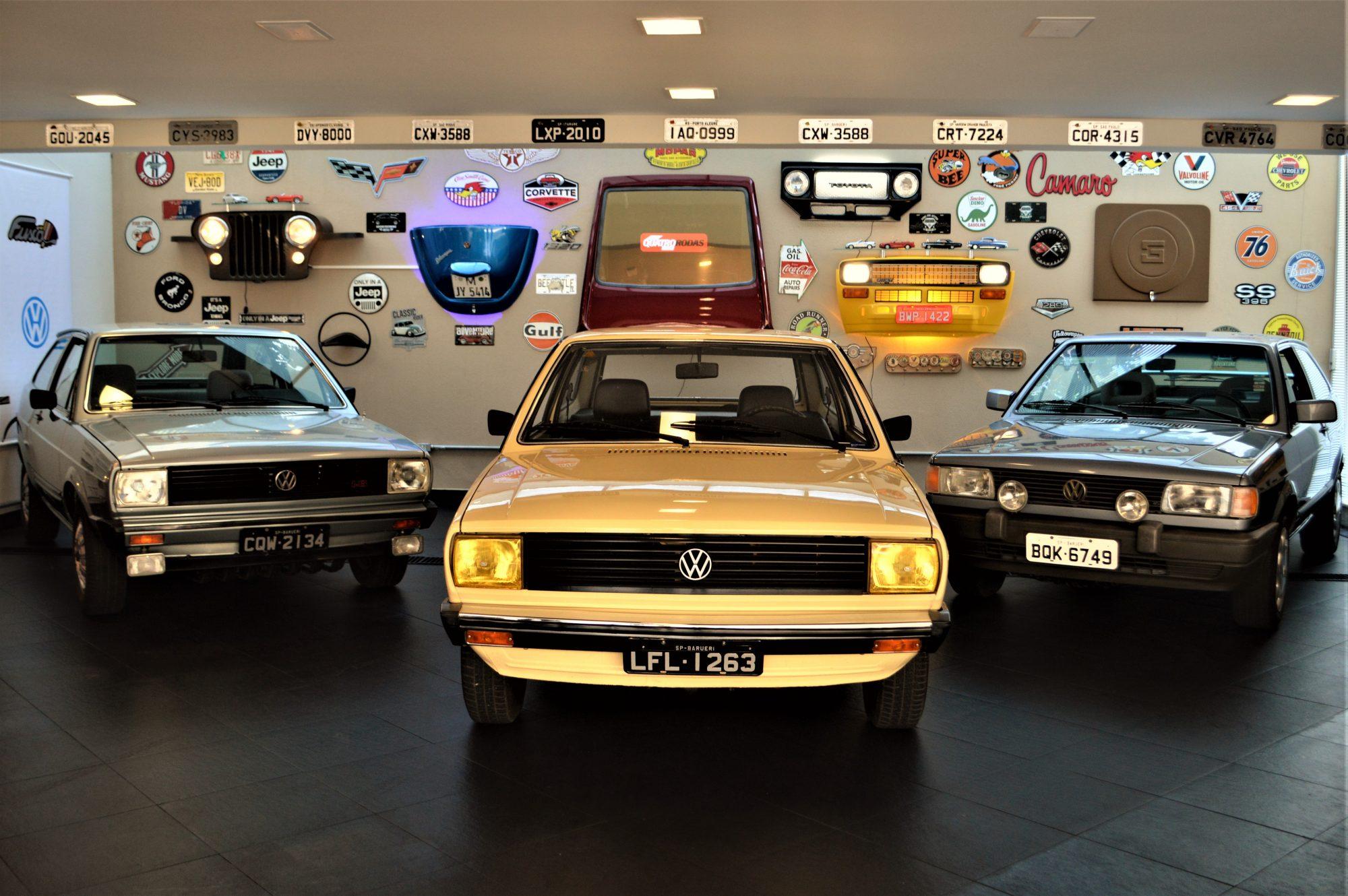 Os três VW Gol, dois edição Copa e o primeiro modelo de 1980