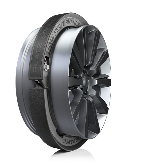 Caso o pneu fure, essa cinta de borracha evita que a tala da roda seja danificada