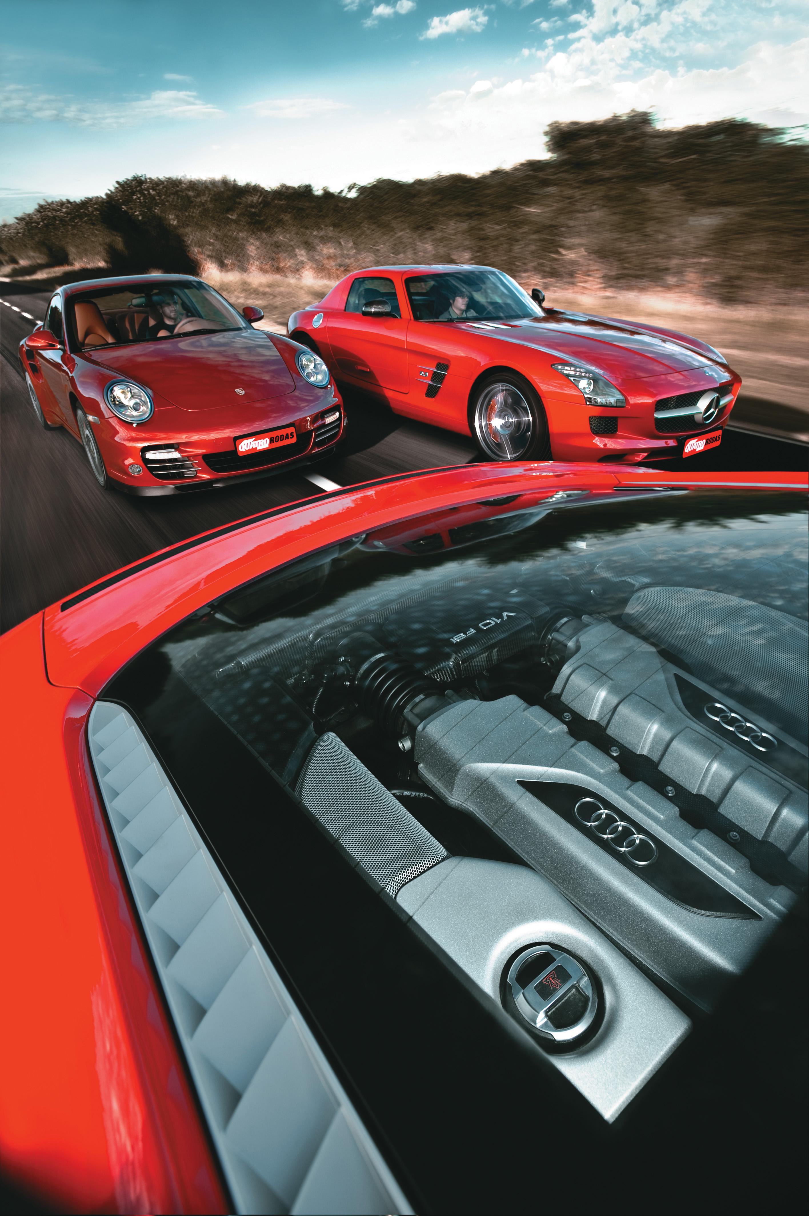 Grandes Comparativos Audi R8 V10 X Mercedes Amg Sls X Porsche 911 Turbo Quatro Rodas