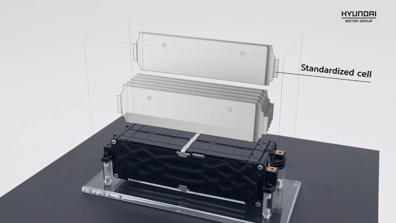 As células bursiformes da bateria são empilhadas em módulos conforme a demanda energética e entre-eixos do carro