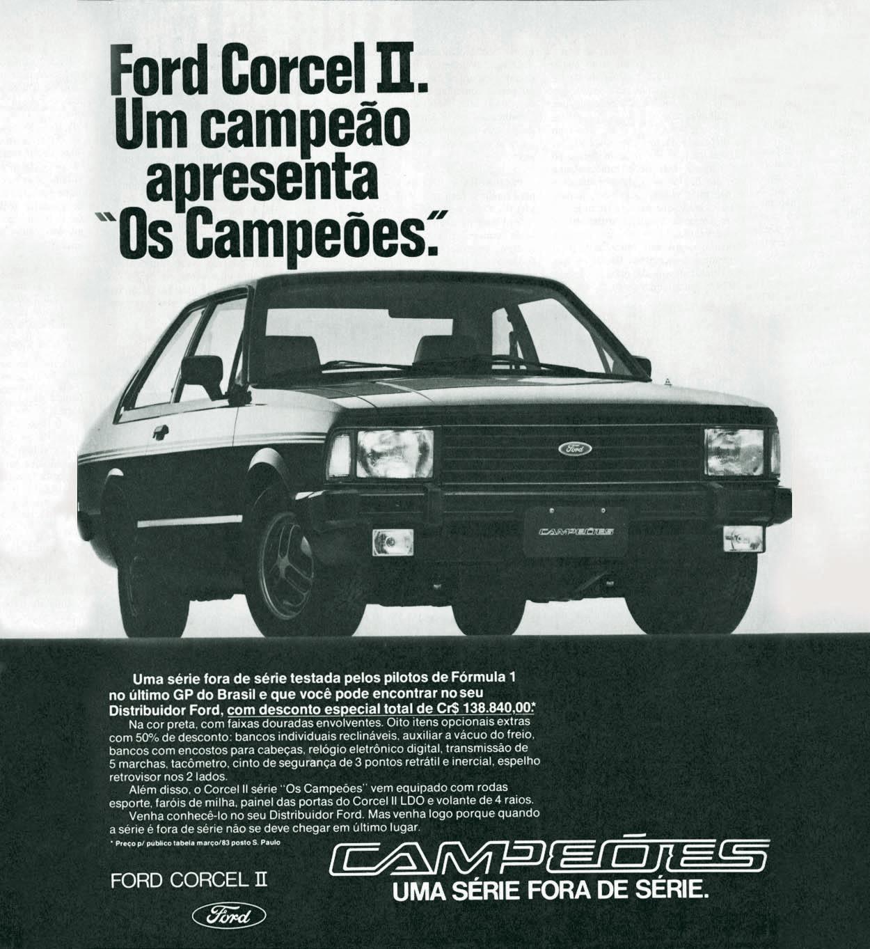 Propaganda do lançamento do Corcel II Os Campões, série especial da Ford, para o