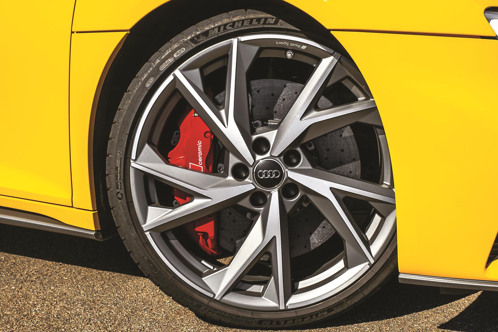 Audi R8 V10 Performance 2020 amarelo roda