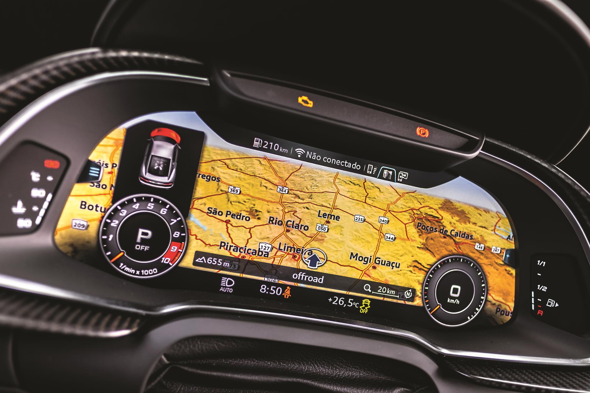 Audi R8 V10 Performance 2020 amarelo quadro de instrumentos digital