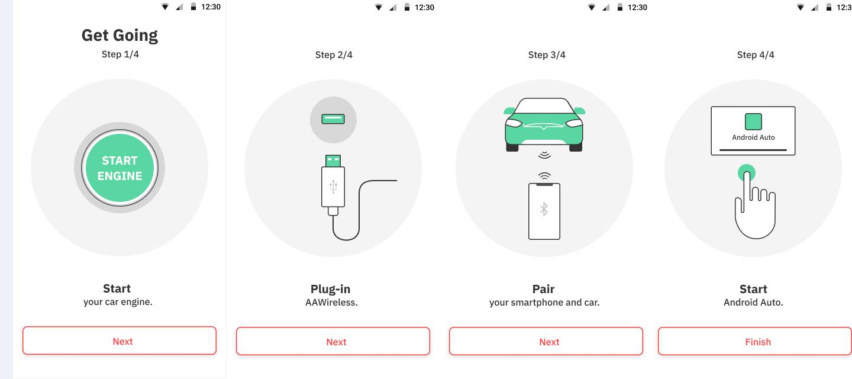 Aplicativo do AAWireless orienta a conexão com o celular