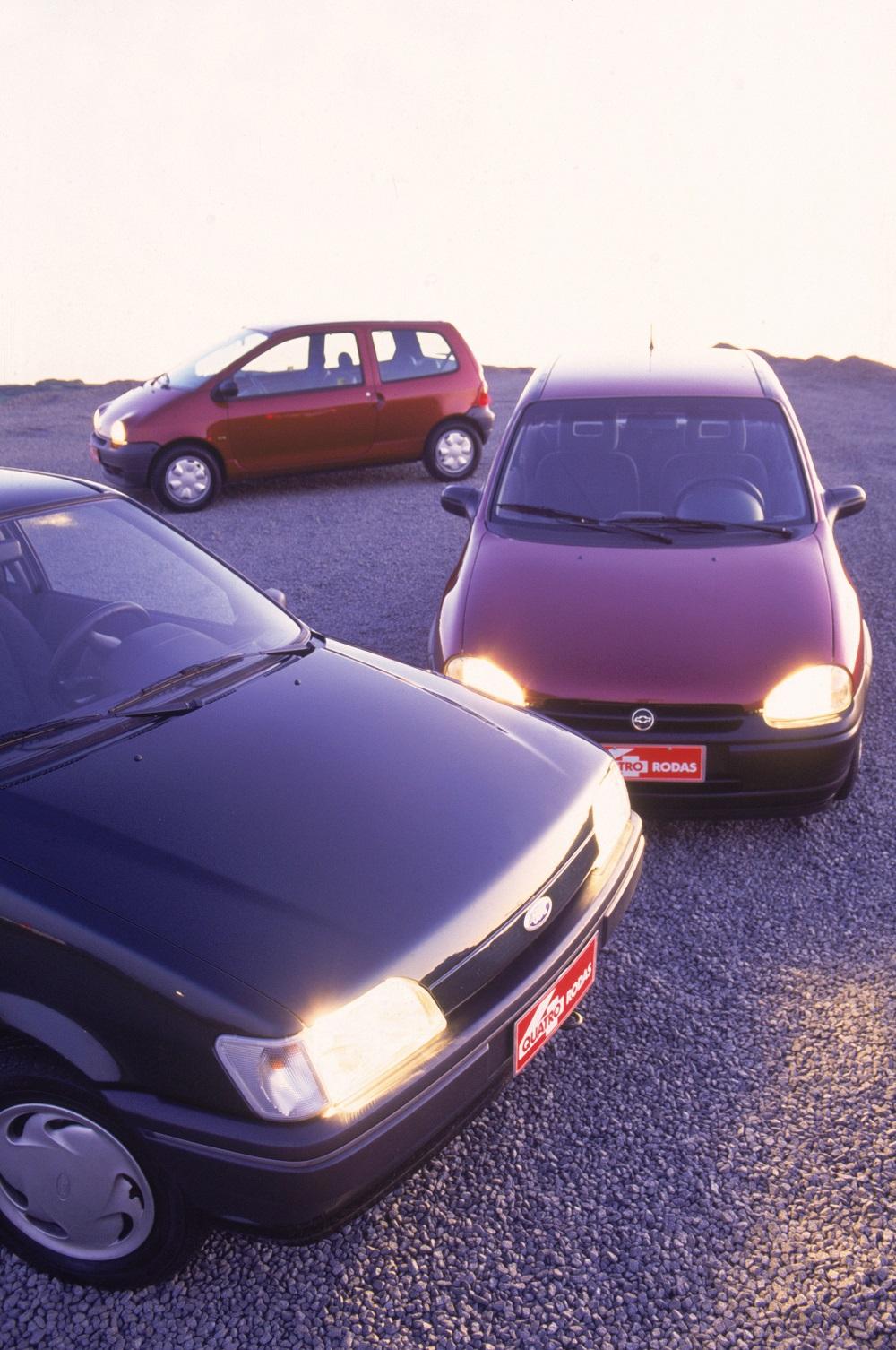 Teste comparativo entre o Fiesta 1.3, Corsa 1.4 e Twingo 1.2.