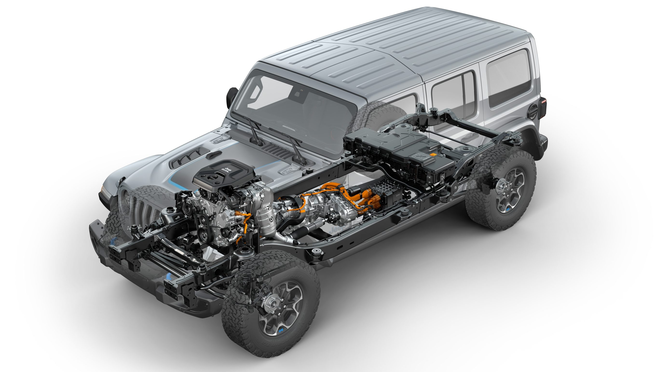 Front three-quarters view of the 2021 Jeep® Wrangler Rubicon 4xe hybrid electric, showing the location of powertrain components.