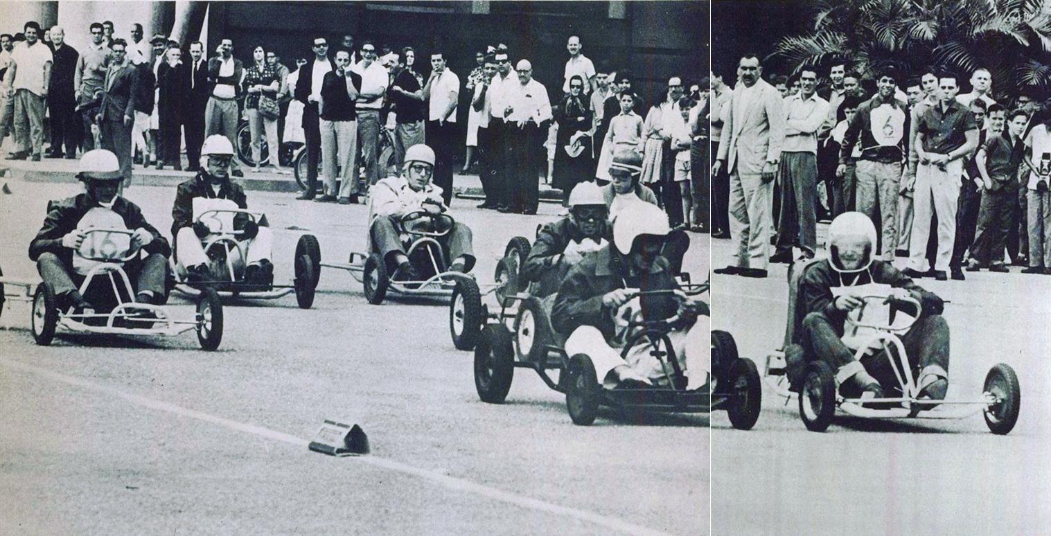 Cirado em meados dos anos 1950 nos EUA, o Kart começa a ganhar noteriedade no Brasil em 1961 com corridas de rua e pilotos famosos testando a modalidade