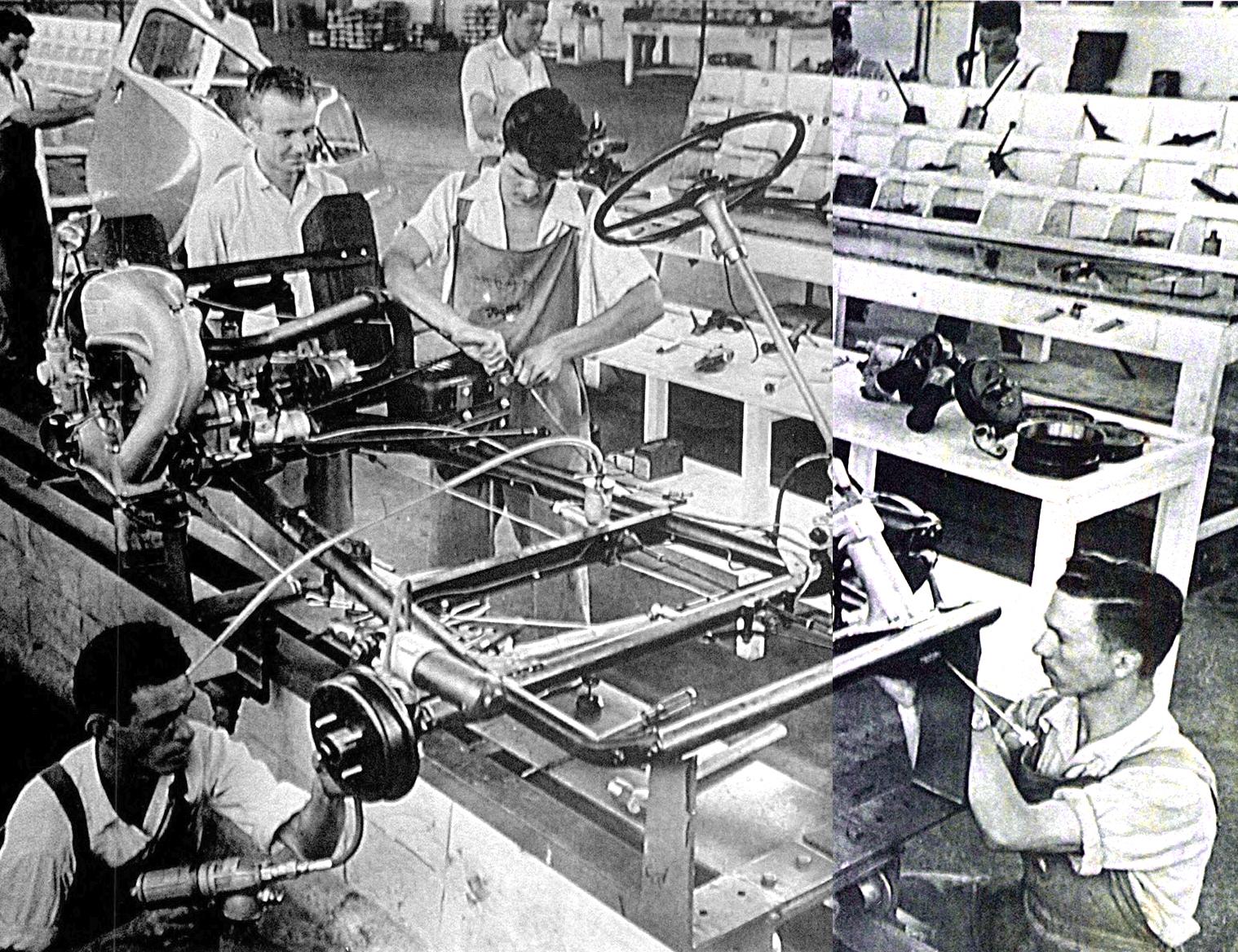 A linha de montagem das primeiras Romi Isetta: simples colocação de componentes prontos, entregues por fornecedores independentes
