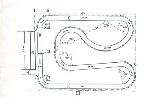 O Kartódromo idal, com um traçado especial para corredores e assistentes. O nº 1 indica o recinto para a assistência, ao redor dos 526 metros de pista; o 2 aponta a barreira de proteção; o 3 assinala o local da partida; o 4, o lugar onde ficará o boxe.