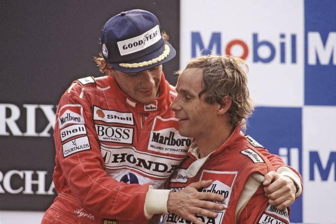Ayrton Senna com Gerhard Berger, ambos da McLaren, no GP Itália de Fórmula 1.