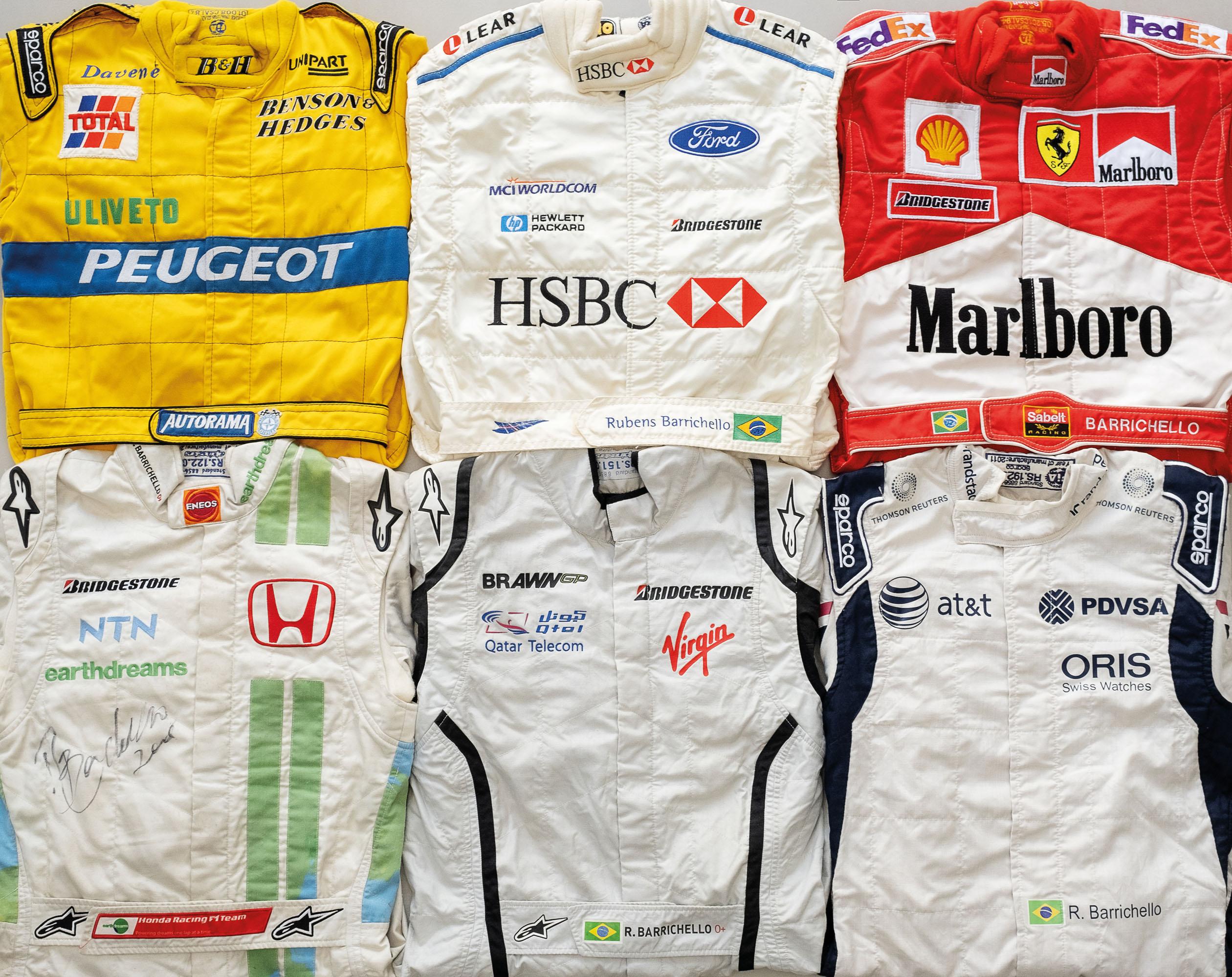 Barrichello em seis equipes: Jordan, Stewart, Ferrari, Honda, Brawn GP e Williams