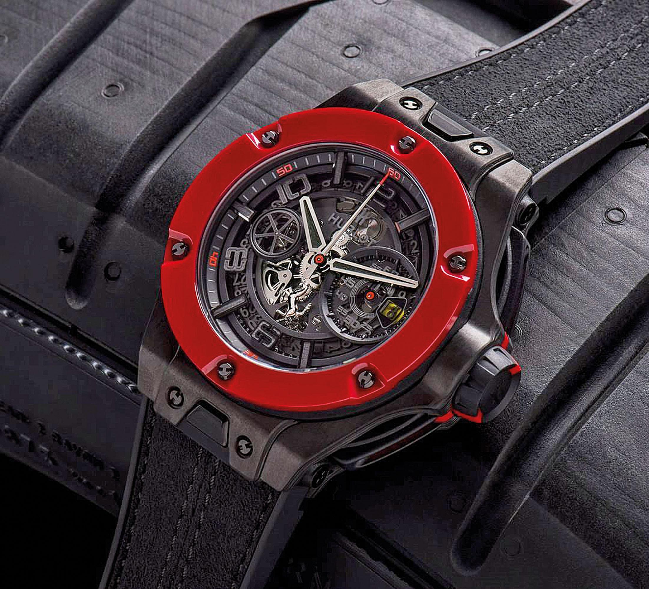 O Hublot criado em parceria com a Ferrari não poderia deixar de ter detalhes em vermelho