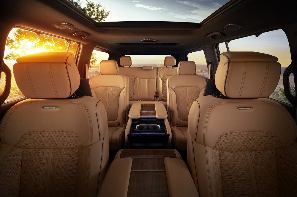 All-new 2022 Grand Wagoneer features hand-wrapped, quilited Palermo leather seats in all three rows.
