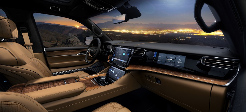 All-new 2022 Grand Wagoneer features the pinnacle of premium SUV interiors with a modern American style and Uconnect 5 12-inch touchscreen radio.