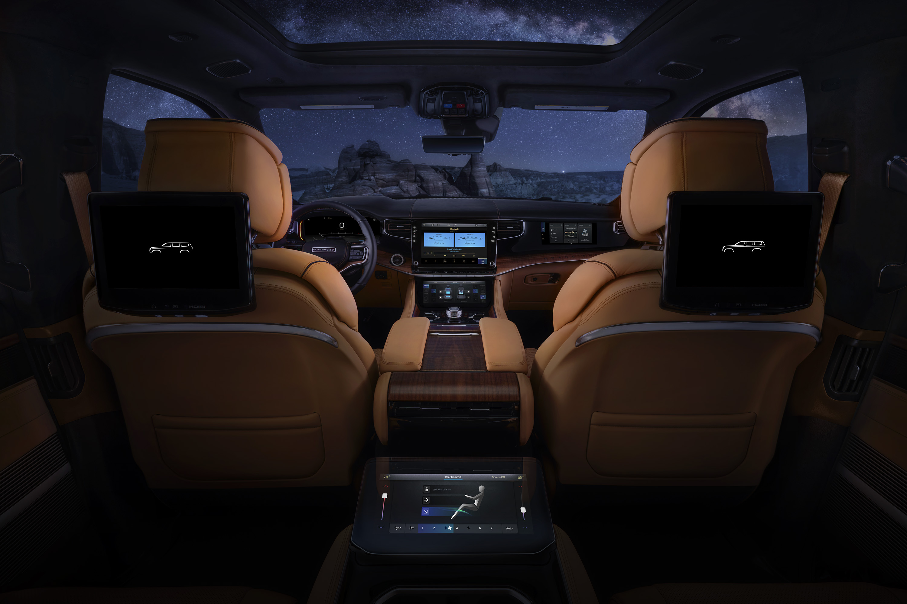 All-new 2022 Grand Wagoneer features two 10.1-inch entertainment touchscreens with the available Rear Seat Entertainment system, which features independent streaming capabilities from major content providers.