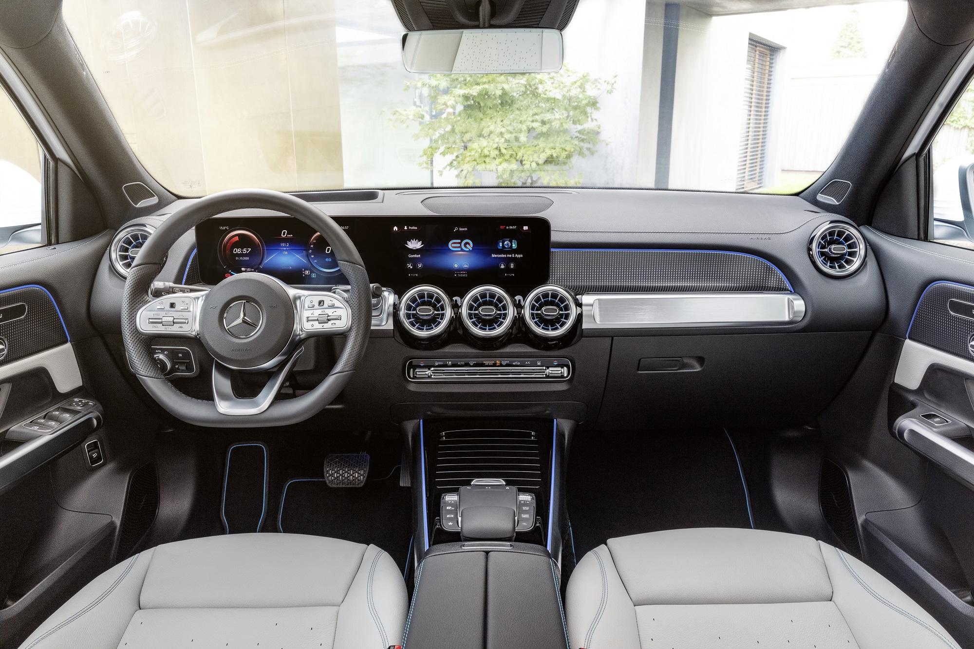 Mercedes-EQ, EQB, 2021; Edition 1, Farbe digitalweiß, Interieur: nevagrau; EQB 350 4MATIC (Stromverbrauch kombiniert: 16,2 kWh/100 km; CO2-Emissionen kombiniert: 0 g/km) // Mercedes-EQ, EQB, 2021; Edition 1, digital white, interior: neva grey; EQB 350 (combined power consumption: 16.2 kWh/100 km, combined CO2 emissions: 0 g/km)