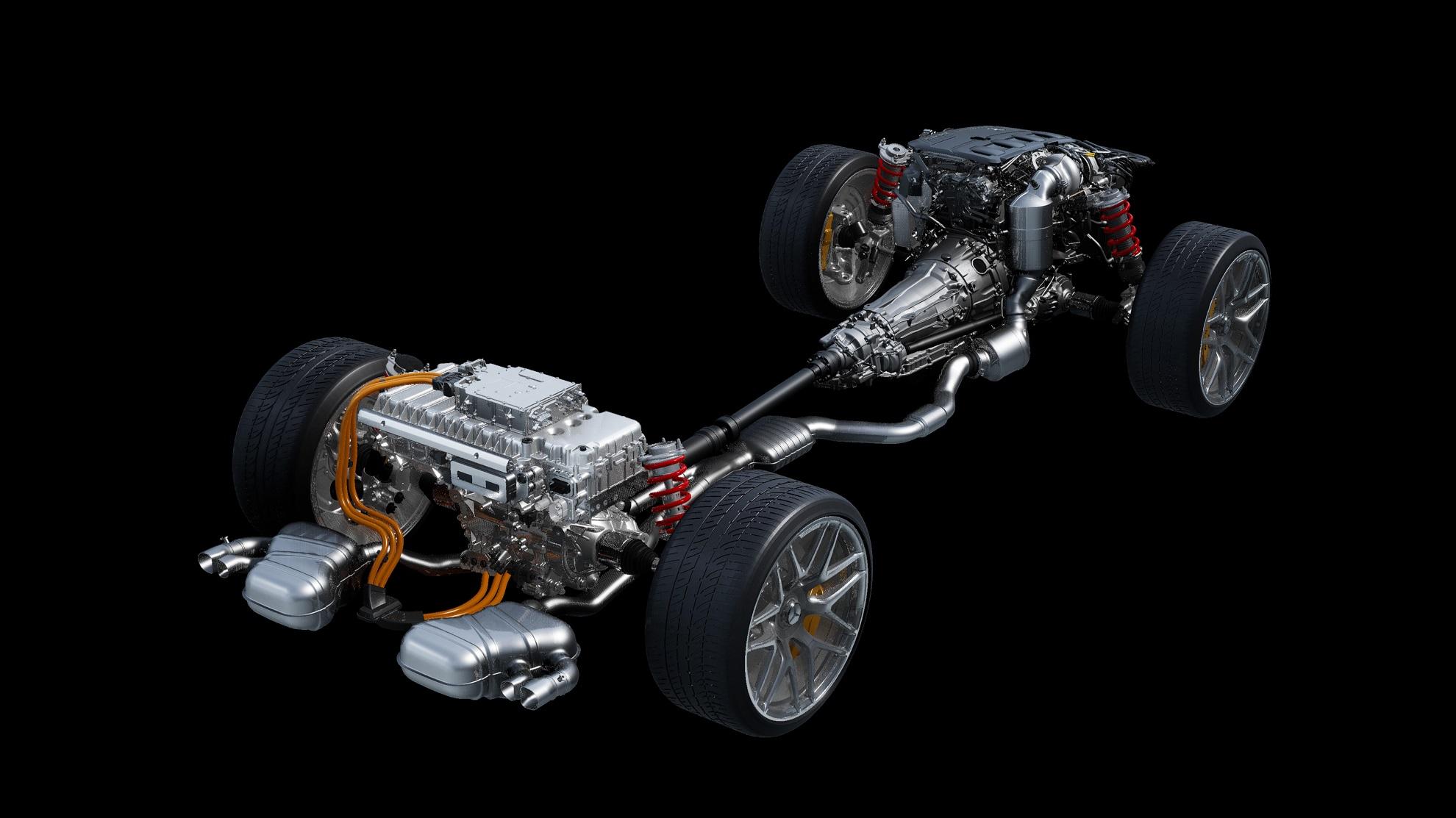 TecDAY AMG Future of Driving Performance Eigenständige E PERFORMANCE Antriebsstrategie für Performance-Hybride; Antriebsstrang 4-Zylinder (M139) // TecDAY AMG Future of Driving Performance Independent E PERFORMANCE drivetrain strategy for performance hybrids; Drivetrain 4-cylinder (M139)