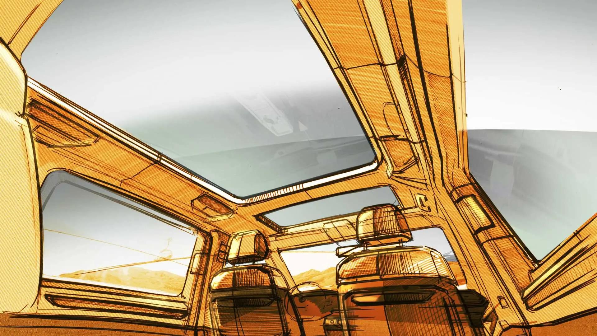 Volkswagen T7 Multivan teaser (4) esboço teto solar