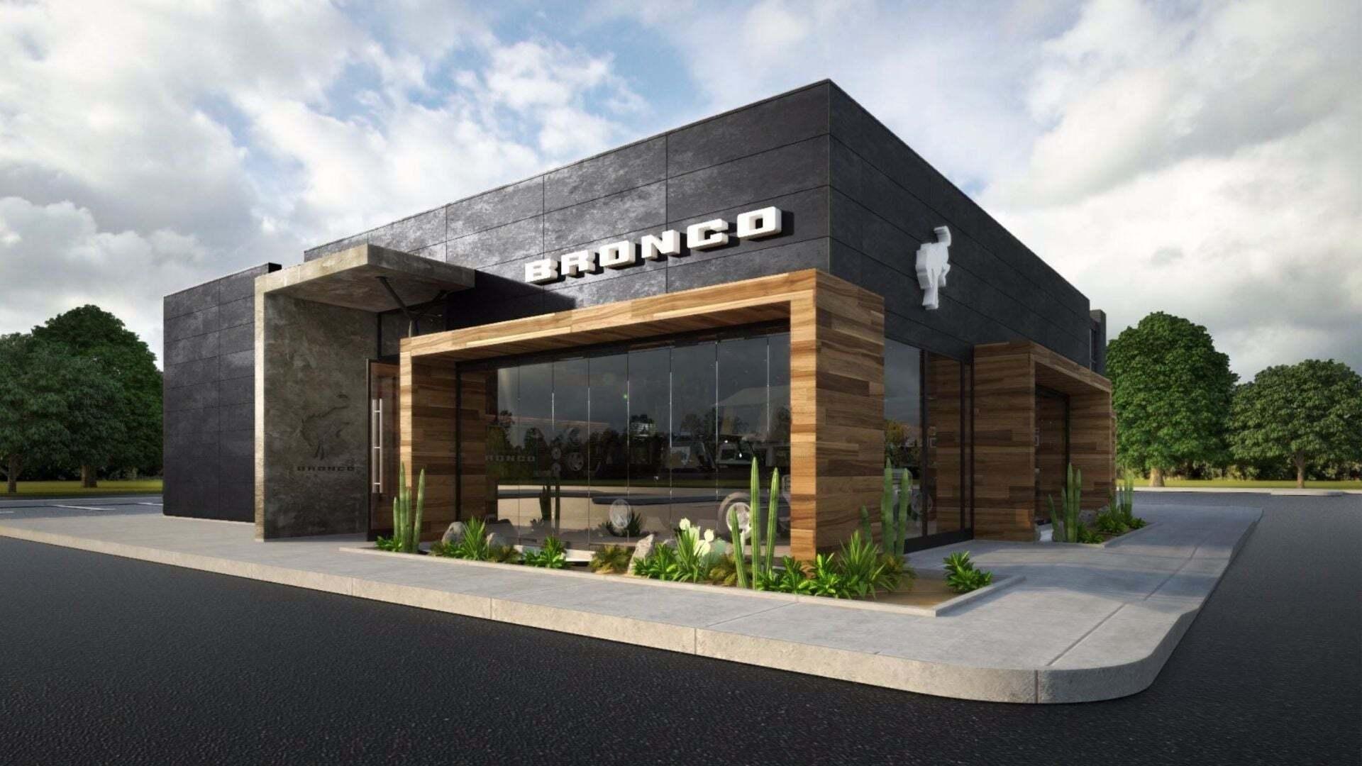 Projeção da fachada de uma das concessionárias exclusivas do Ford Bronco