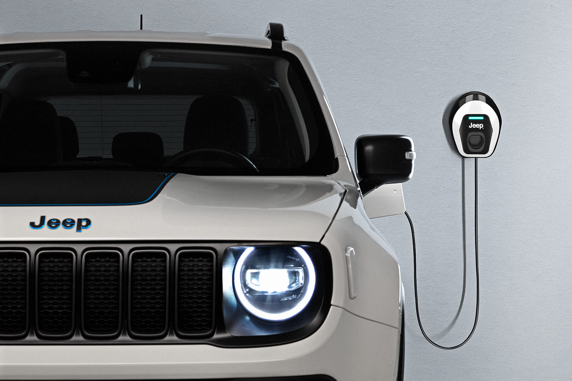 Jeep Renegade branco híbrido visto de frente