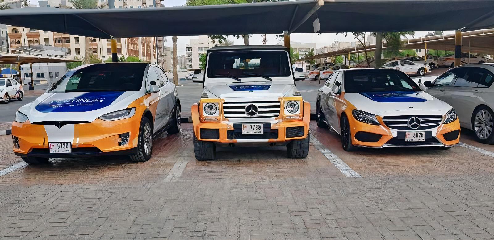 Emirates Driving Institute Tesla, Mercedes