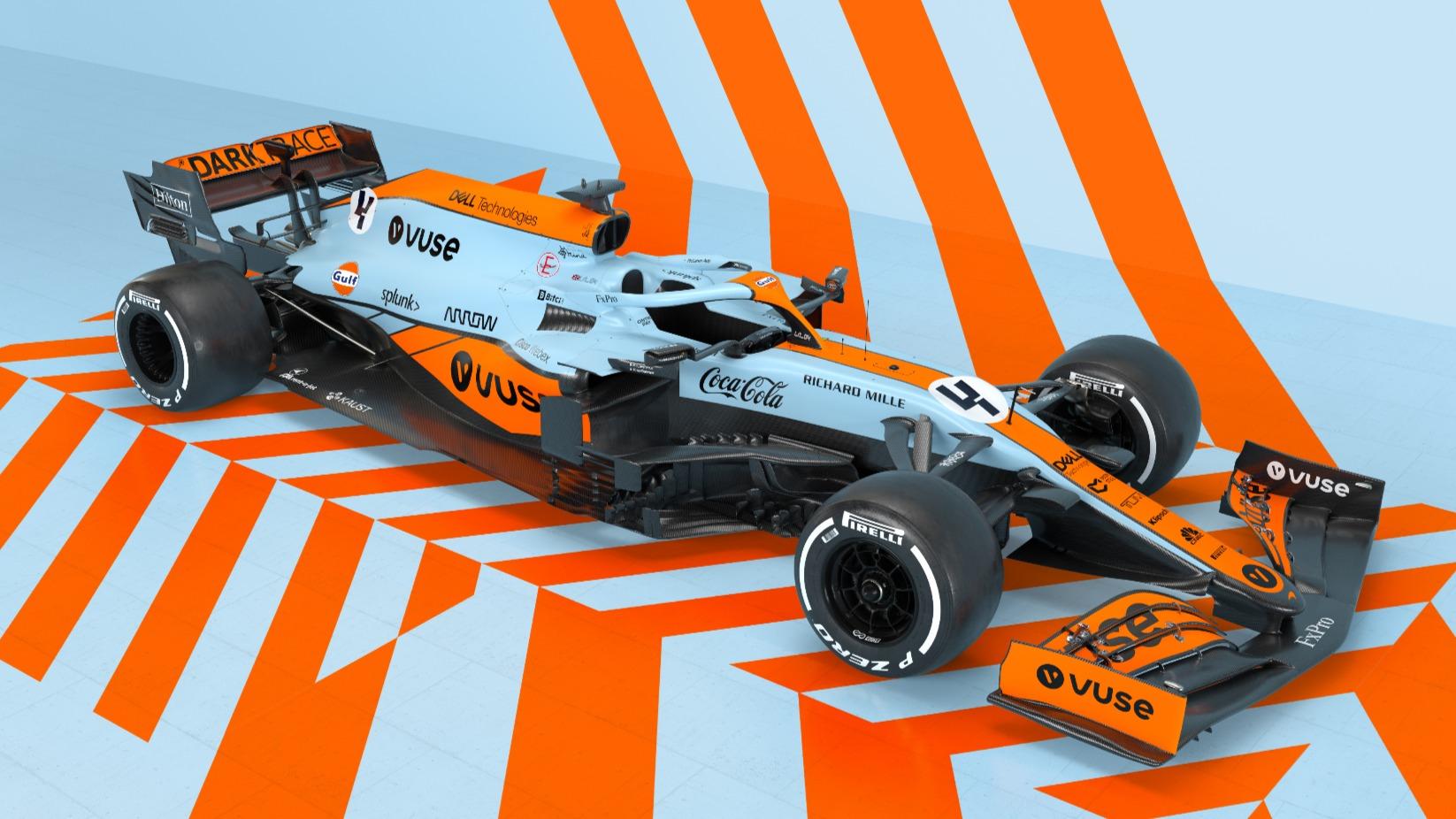 Carro de F1 da McLaren visto 3/4 de cima