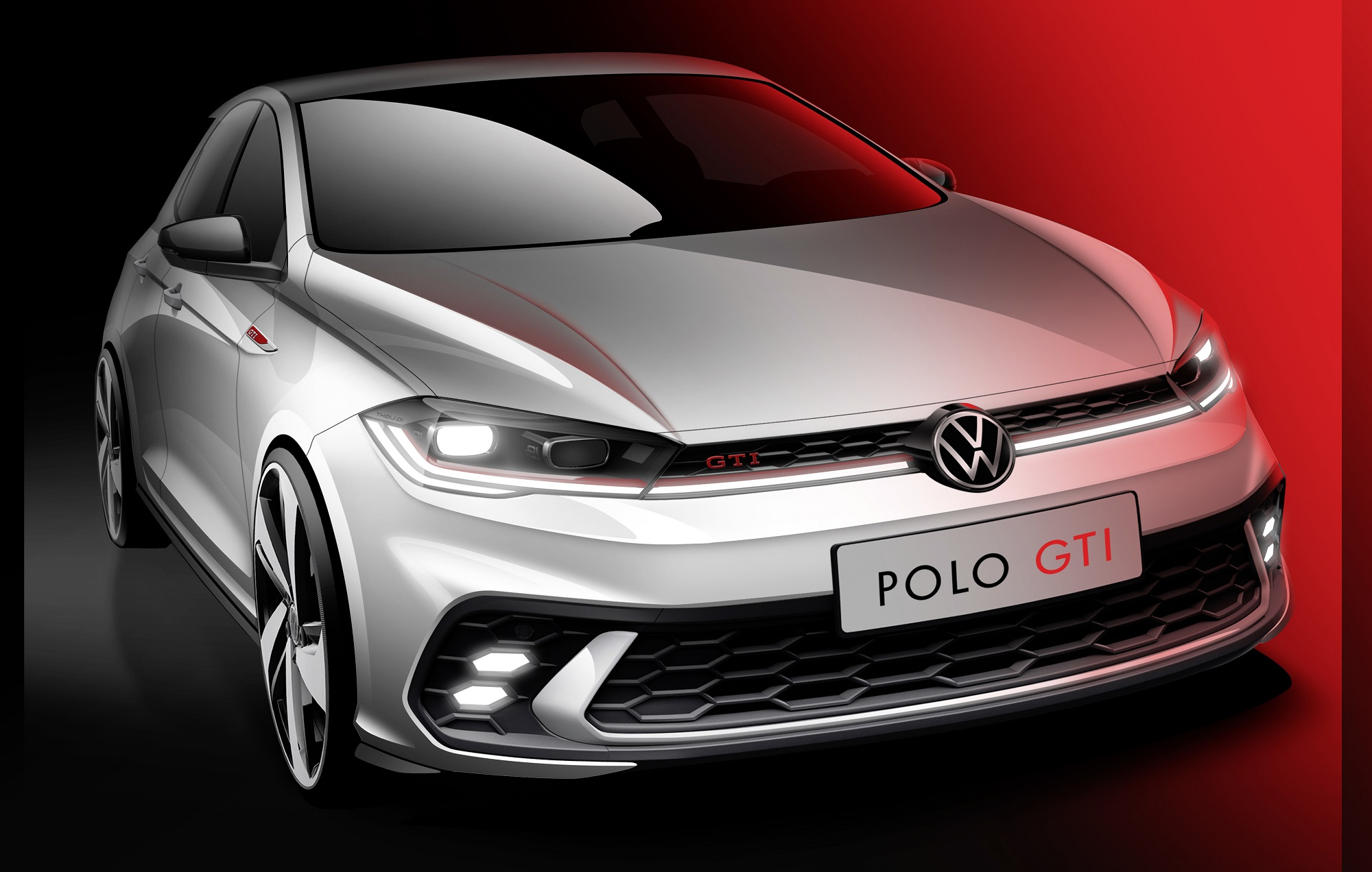 Sharper, dynamic, power-packed: First flash of the new Polo GTI.
