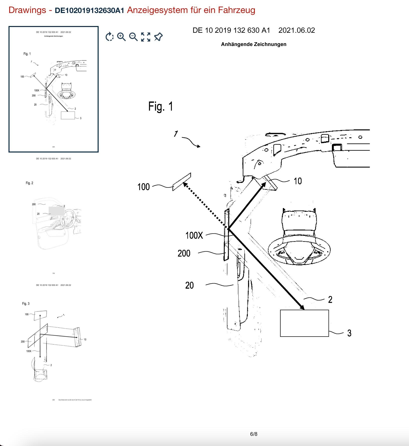 Desenho do sistema da nova patente de retrovisor da bmw