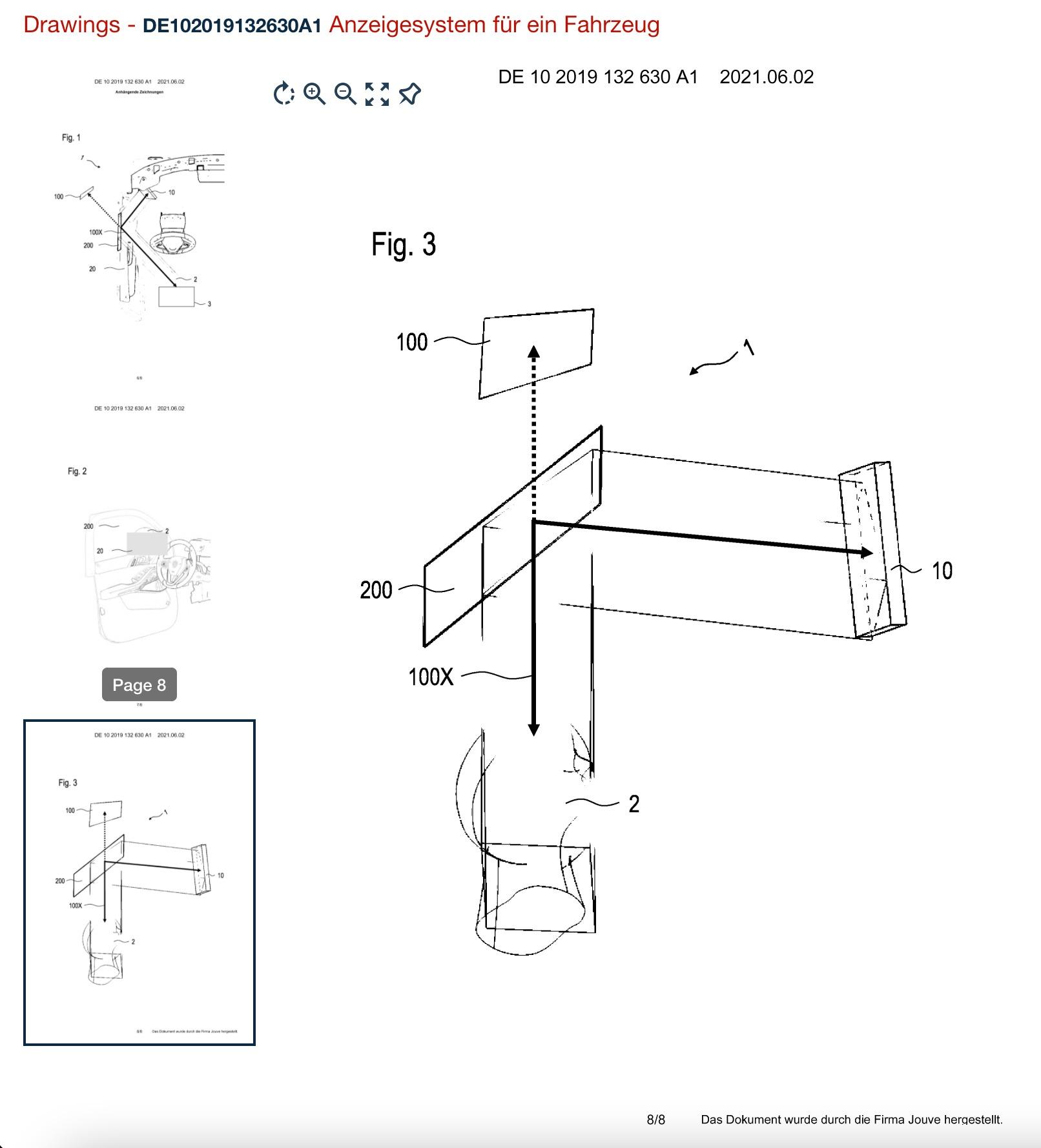 desenho sistema de retrovisor virtual bmw