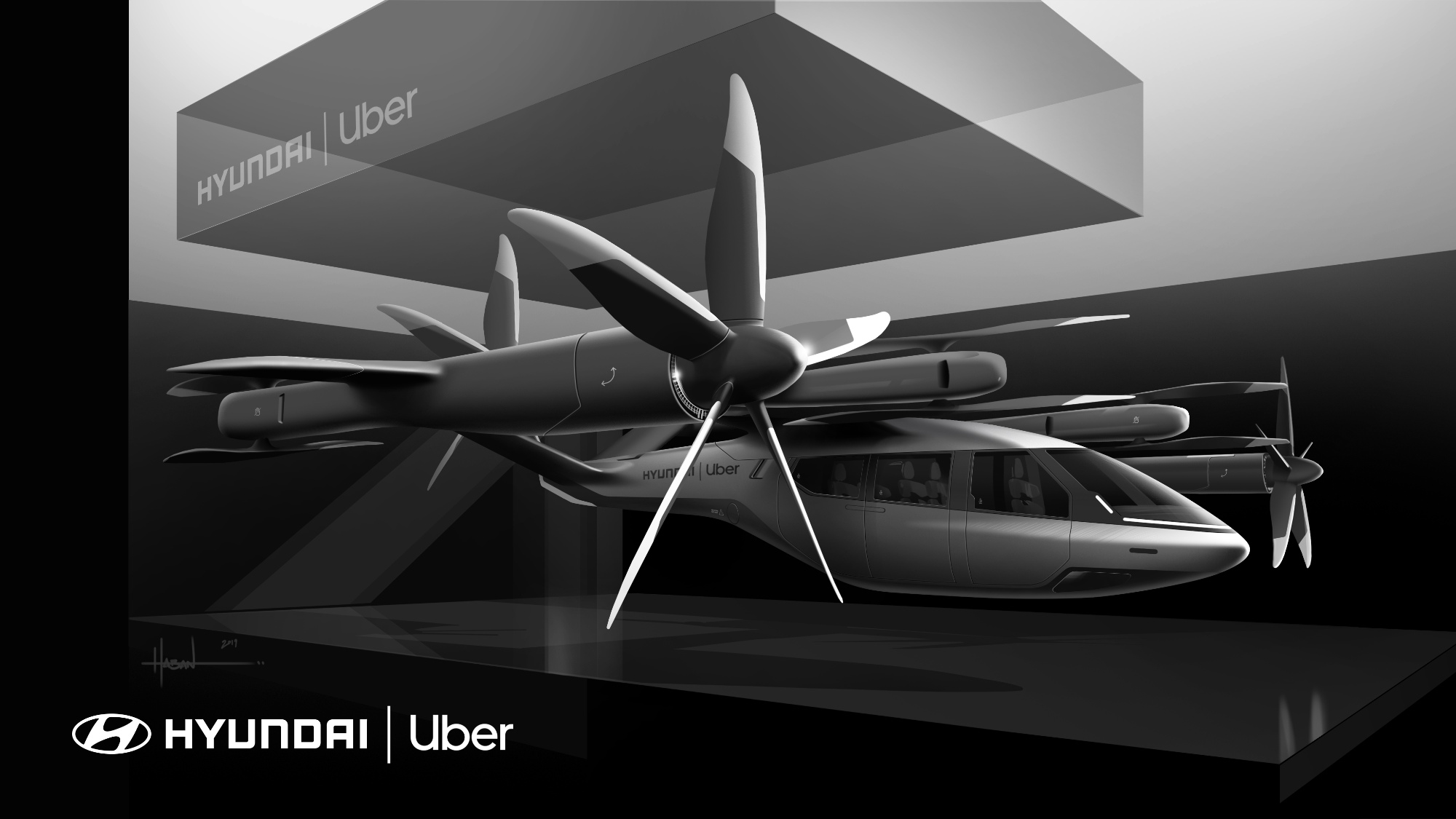 Representação do Carro voador da Hyundai com a Uber