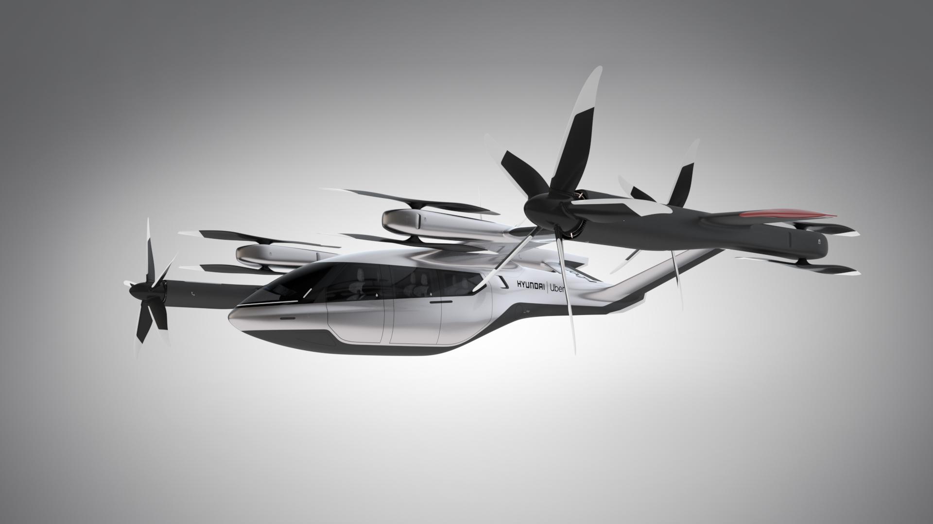 Representação do lado do carro voador da Hyundai com a Uber