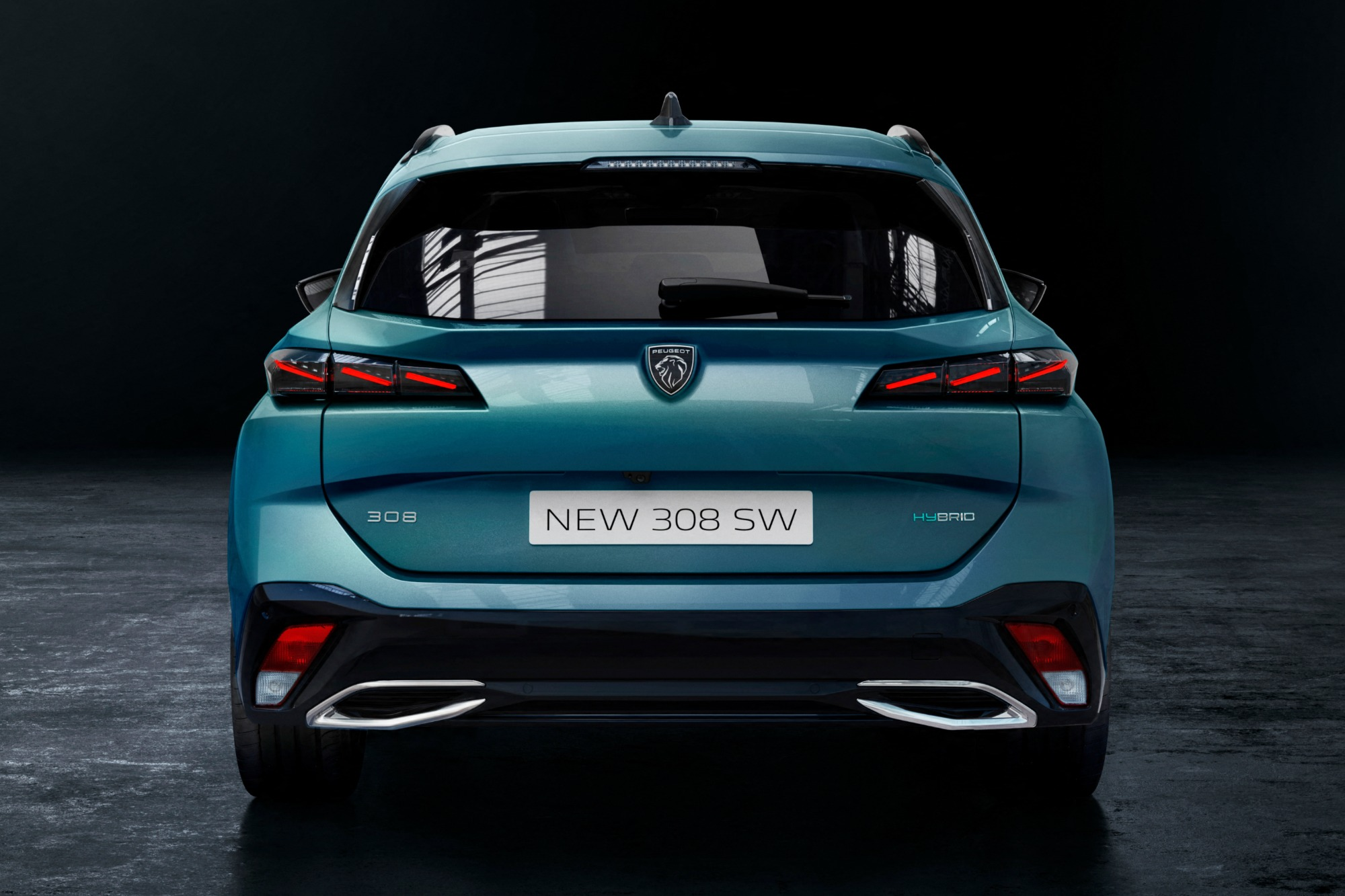 Peugeot 308 SW 2021 azul visto de trás