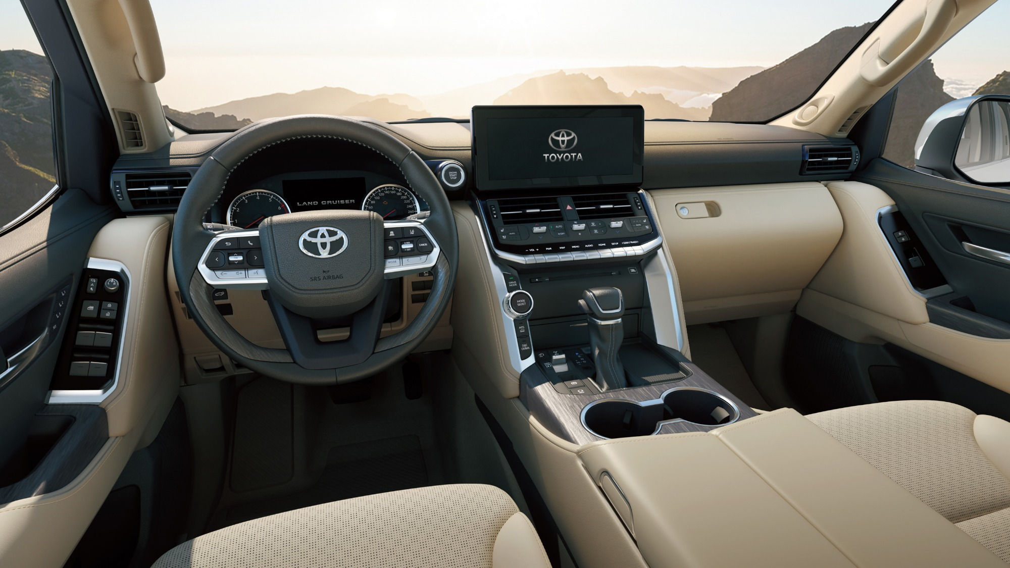Interior do Toyota Land Cruiser 300Series visto dos bancos da frente