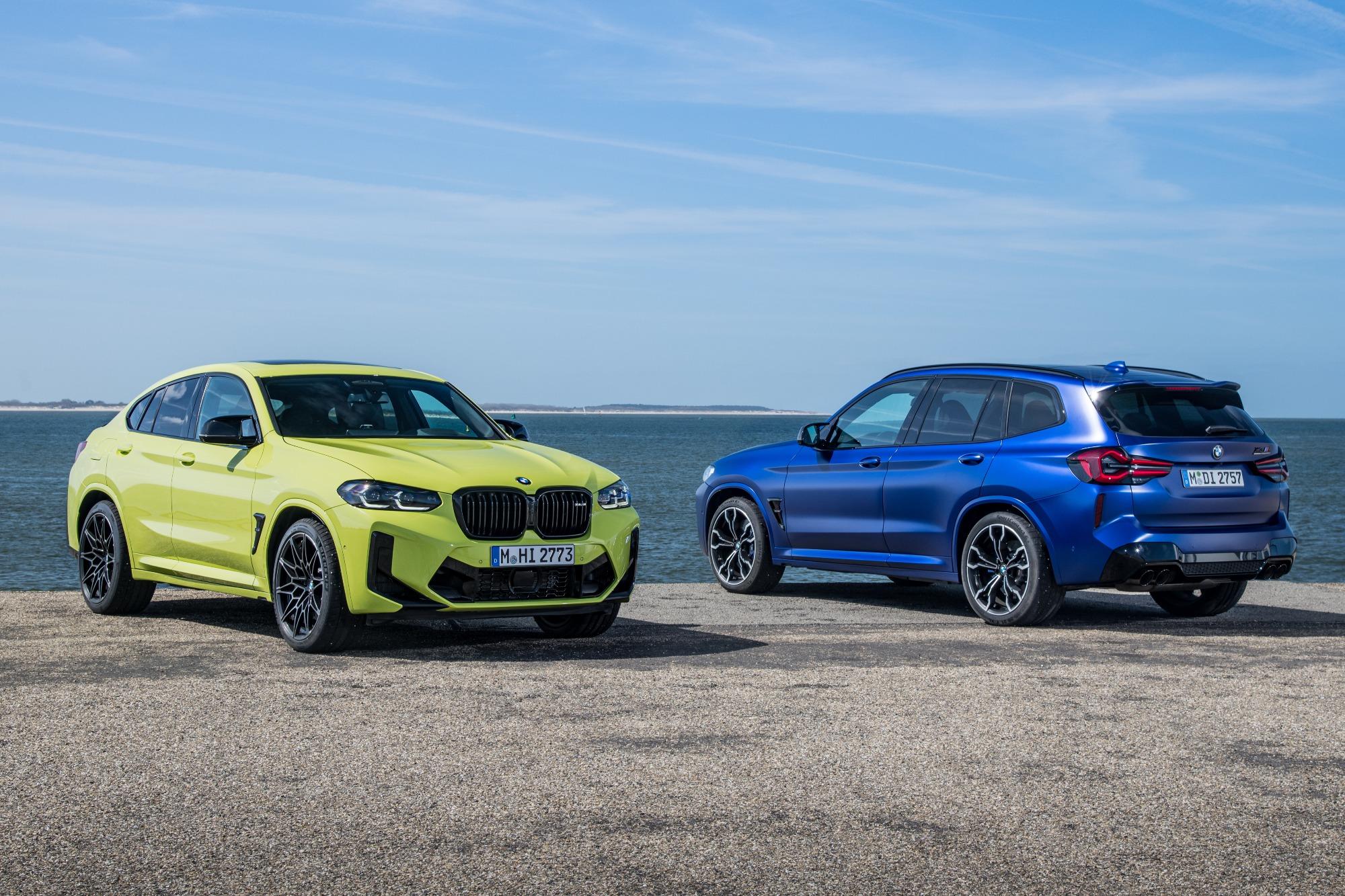 BMW X3 azul E X4 verde M COMPETITION 2022