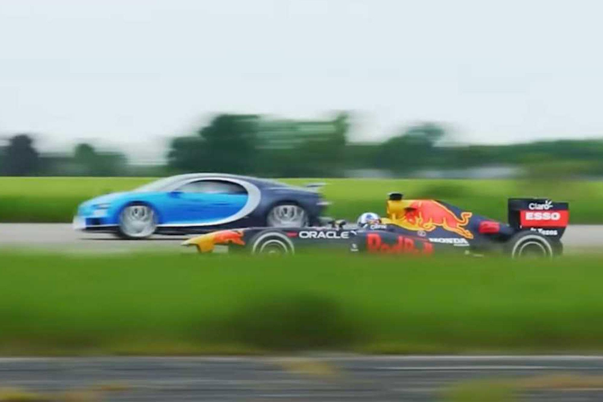 Chiron disputando drag race com F1
